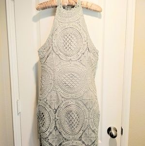 Seafoam Green Knee Length Crochet Dress Sleeveless